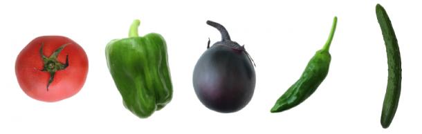 きゅうりやトマトなどの野菜の画像